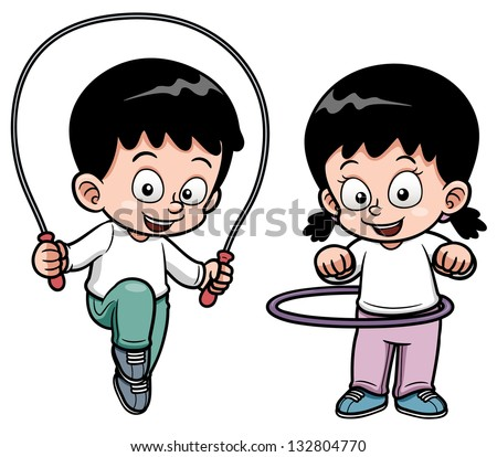 Vector illustration of Kids Exercising - stock vector