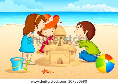 vector illustration of kids making sand castle on sea beach - stock vector
