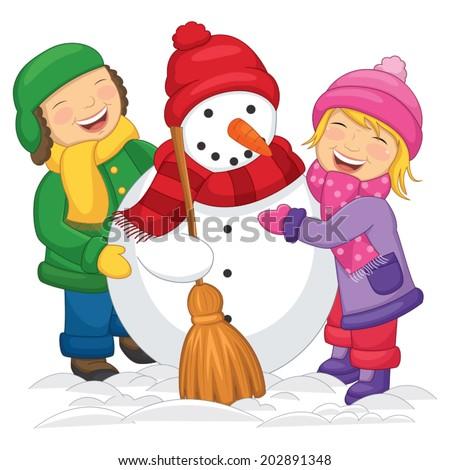 Vector Illustration Of Kids Making Snowman  - stock vector