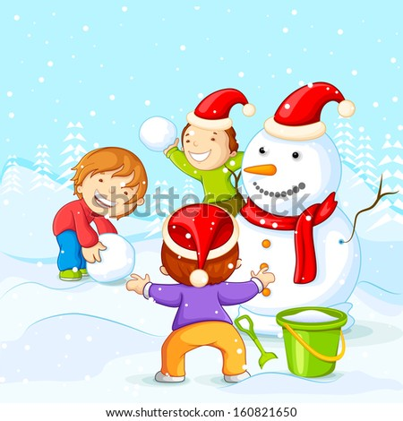 vector illustration of kids making Snowman for Christmas - stock vector