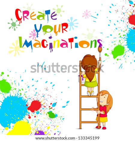 vector illustration of kids painting competition poster - Pictures Of Kids Painting