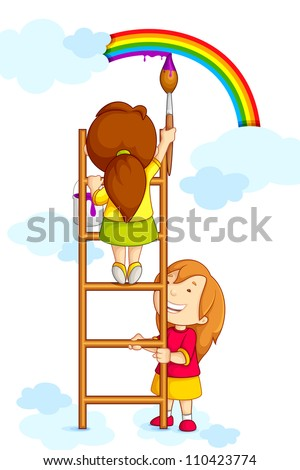 vector illustration of kids painting rainbow in clouds - stock vector