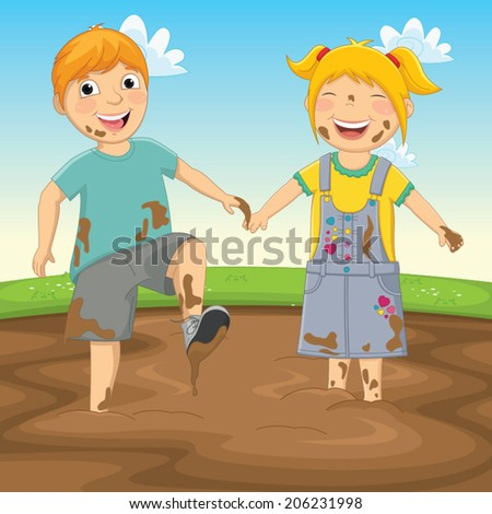 Vector Illustration Of Kids Playing in Mud - stock vector