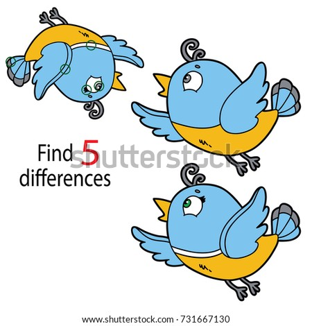 Vector illustration of kids puzzle educational game Find 5 differences for preschool children with  cartoon bird character