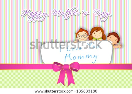 vector illustration of kids standing behind placard wishin Happy Mother's Day - stock vector
