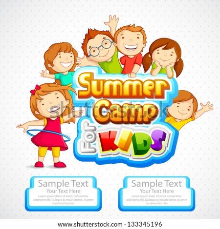 Vector Illustration Of Kids Summer Camp Poster