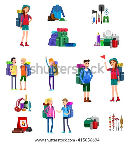 vector illustration of kids summer camp. Vector characters   camp counselor and children. Camping banner and icon. Vector kids summer camp. Illustration summer camp - stock vector