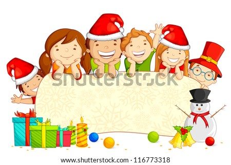 vector illustration of kids wearing Santa cap with snowman and Christmas gift - stock vector