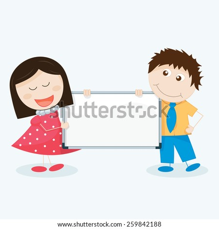 vector illustration of kids with a blank signboard - stock vector