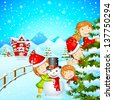 vector illustration of kids with snowman enjoying Christmas - stock vector