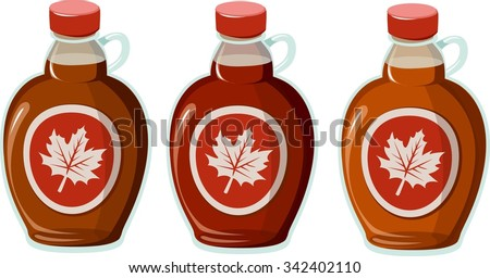 Vector illustration of 3 kinds of maple syrup. - stock vector
