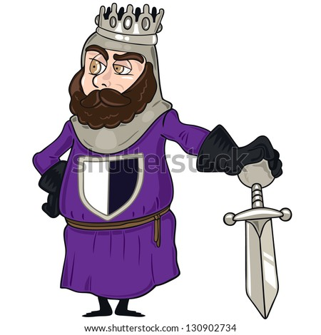 Vector illustration of king character, knight posing with sword and crown - stock vector