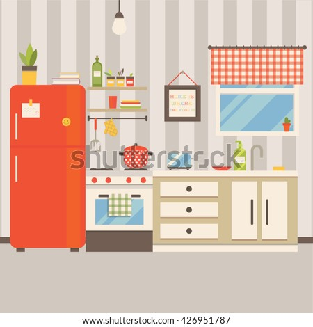 Vector illustration of kitchen interior. Flat minimalistic style and retro colors.