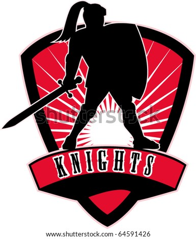 """vector illustration of Knight silhouette with sword shield side sunburst in background set inside shield with words """"Knights"""" suitable as mascot for sports sporting club  organization - stock vector"""