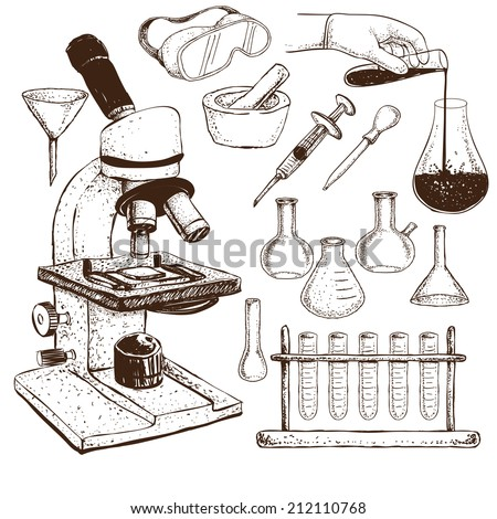 Vector illustration of laboratory equipment doodle on white background - stock vector