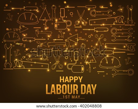 Vector illustration of Labour Day typography concept with engineer labour tools. - stock vector