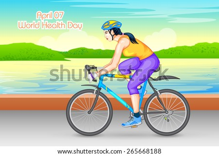 vector illustration of lady cycling for fitness - stock vector