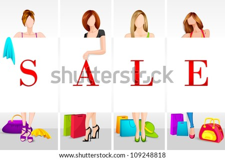 vector illustration of lady in sale changing room - stock vector