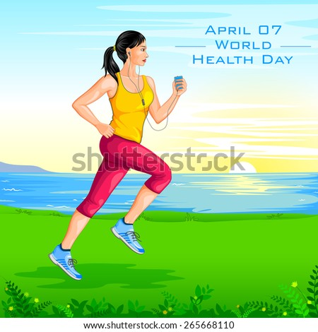 vector illustration of lady jogging for wellness - stock vector