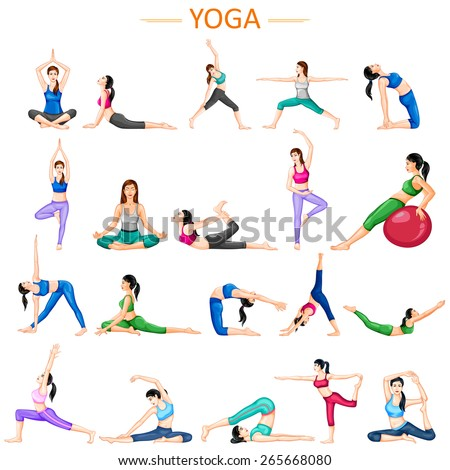 vector illustration of lady practising yoga for wellness - stock vector