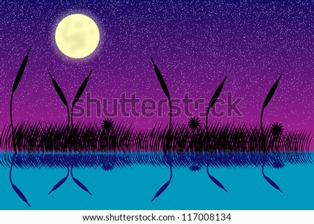 Vector illustration of lake night scene with grass silhouette - stock vector