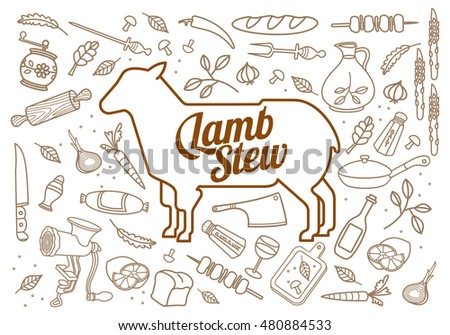 Vector illustration of lamb, vegetables image, bread, drinks and cooking tools. Brochures, advertisements, web design, web icon, food menu. Isolated on a white background