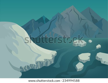 Vector illustration of Landscape with snow-capped mountains, blue lake and ice floes - stock vector