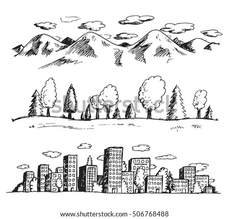 Vector illustration of landscapes hand drawn doodles style