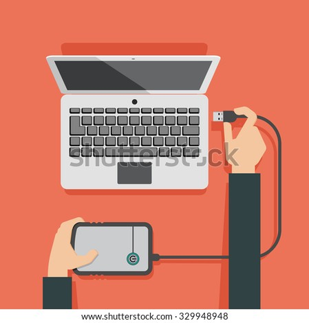 Vector illustration of laptop and hands attaching external memory to laptop - stock vector