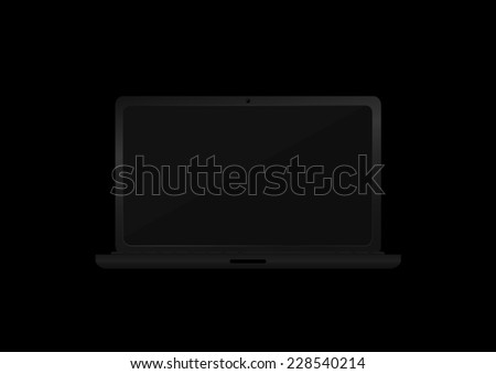 Vector illustration of Laptop in the dark