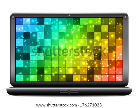 Vector illustration of laptop with abstract background.