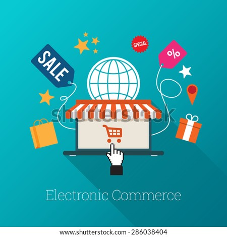 Vector illustration of laptop with awning and hand select icon with several e-commerce symbols. - stock vector