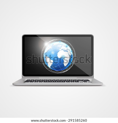 Vector illustration of laptop with globe illustration at background