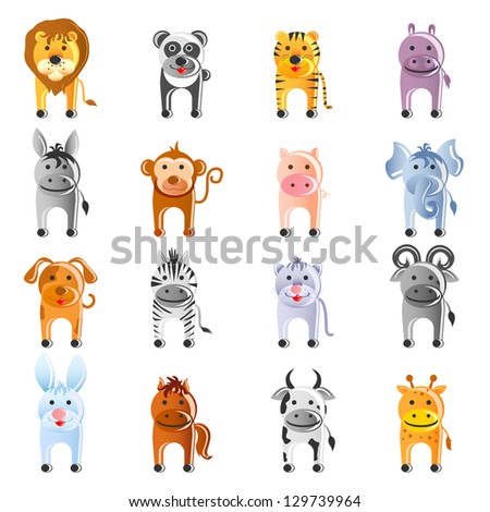 vector illustration of large collection of animal