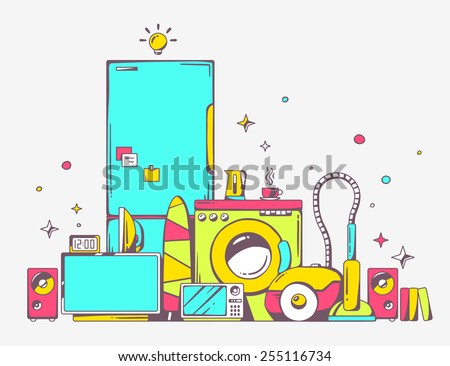 Vector illustration of large pile of bright household appliances standing on each other on light gray background. Color line art design for web, site, advertising, banner, poster, board and print. - stock vector