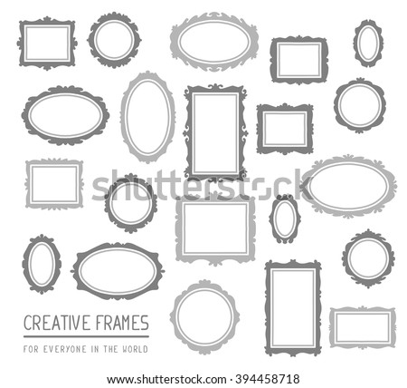 Vector illustration of large set of gray rectangular and oval frames isolated on white background. Art design for web, site, advertising, banner, poster, flyer, brochure, board, card, paper print. - stock vector