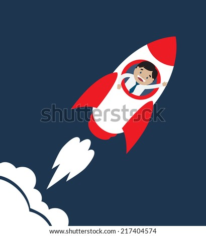 Vector illustration of launch of space rocket with man in it - stock vector