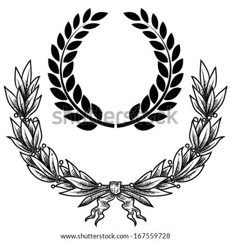 Vector illustration of laurel wreath - stock vector