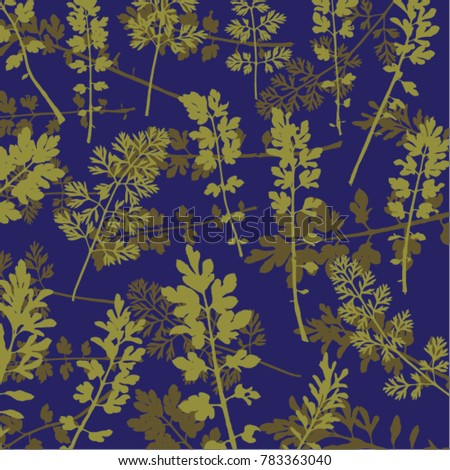 Vector illustration of leaf background. Green, purple, parsley.