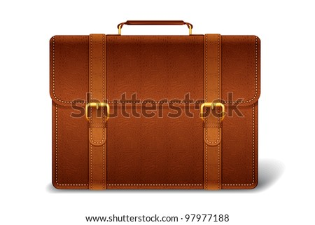 vector illustration of leather briefcase against white background - stock vector