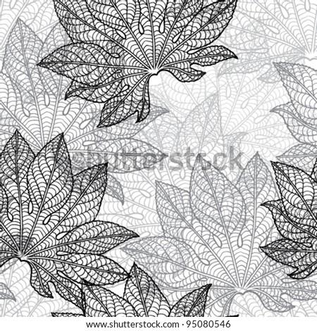 Vector illustration of leaves. (Seamless Pattern) - stock vector