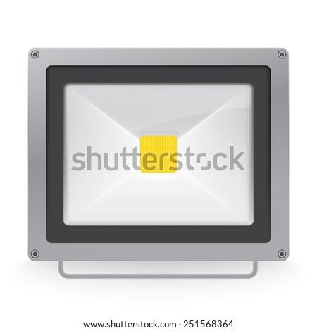Vector illustration of LED spotlight or floodlight - stock vector
