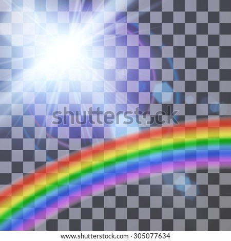 Vector illustration of lens flare with rainbow on a transparent background for your design - stock vector