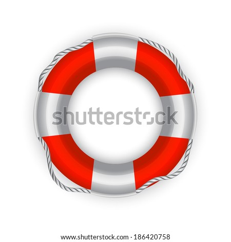 Vector illustration of Life Buoy ( rescue circle ) over white background