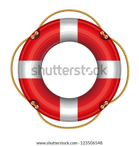 vector illustration of lifebuoy against white background - stock vector