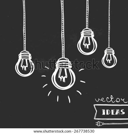 Vector illustration of light bulbs isolated on black, ideas and creative process concept art - stock vector