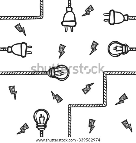 Vector illustration of light bulbs, wires and electric plugs isolated on white. Sketch-style seamless hand-drawn background - stock vector