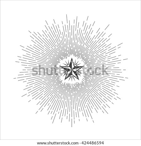 Vector illustration of light rays of burst. Ink sunbursts. Vintage star. Vintage style of the image. Design elements for your projects. Hipster style. Linear drawing.