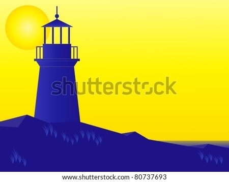 Vector illustration of lighthouse at sunrise - stock vector
