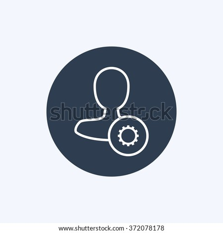 Vector illustration of line male user settings icon . Could be used as menu button, user interface element template, badge, sign, symbol, company logo